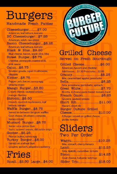 Burger Culture Menu (click to enlarge)