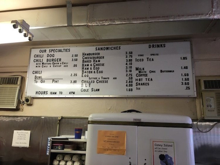 Coney Island Grill Menu Board