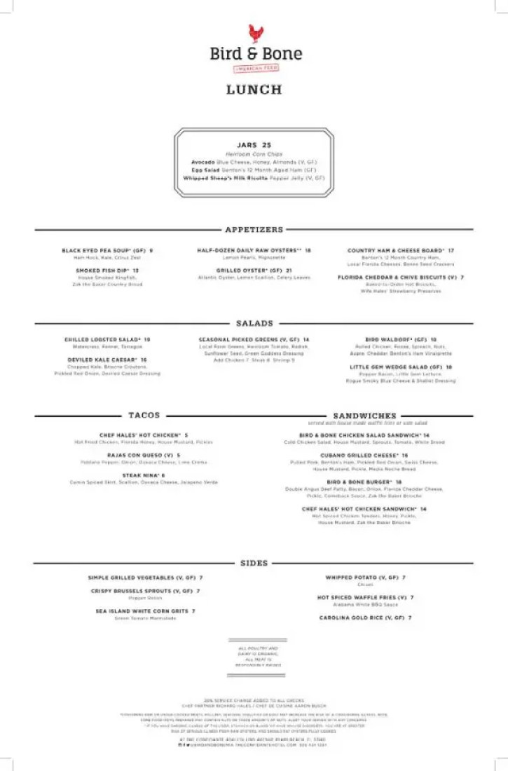 Bird & Bone Menu Page 1