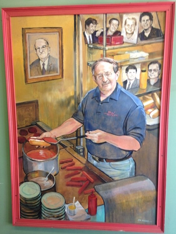 Painting of founder from Chris' Hot Dogs