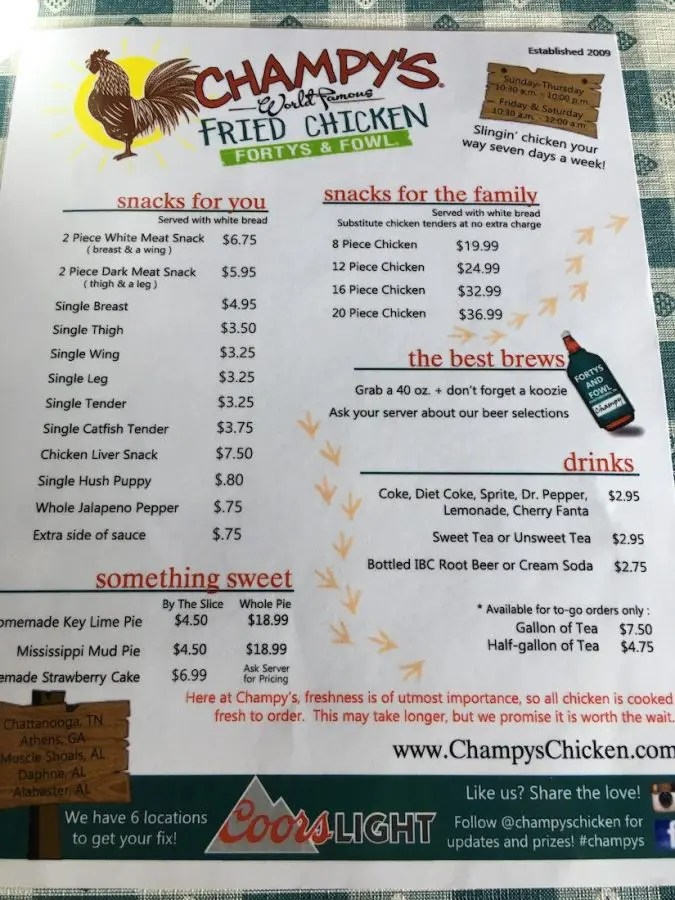 Champy's Fried Chicken Menu