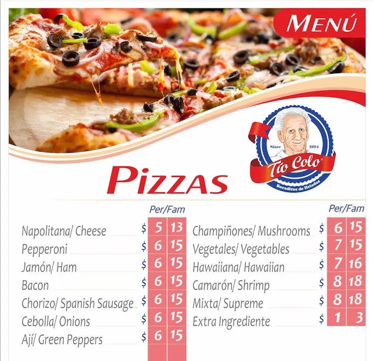 Tio Colo Menu for Pizza Cubana