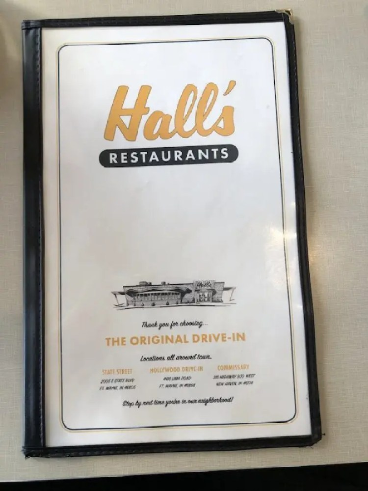 Hall's Restaurants Menu Cover
