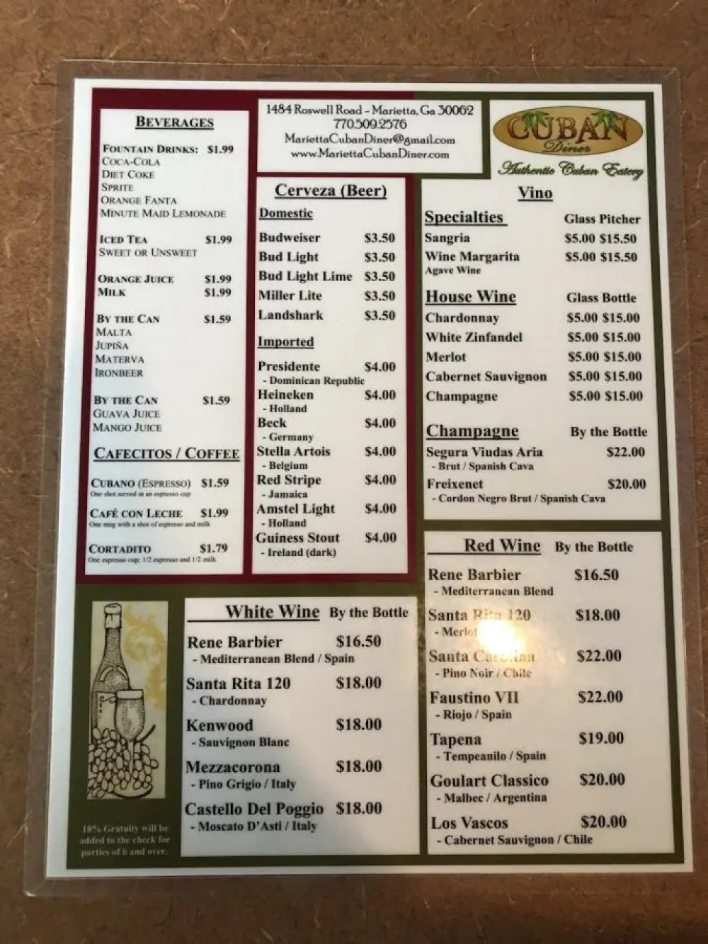 The Cuban Diner Menu Page 2
