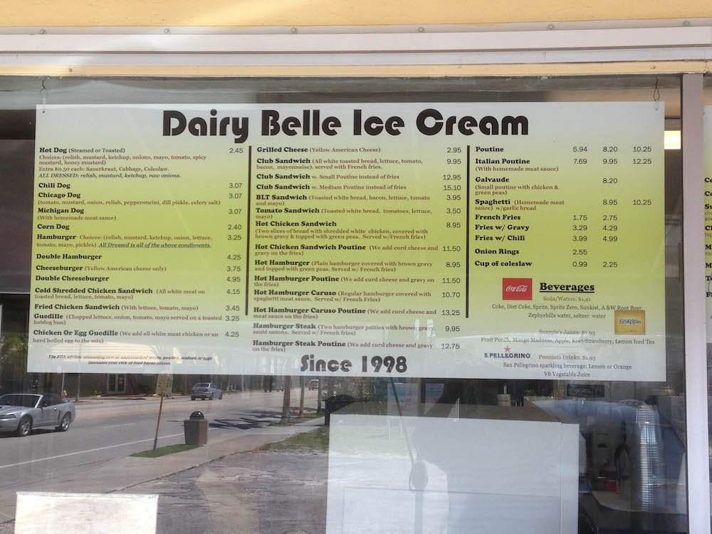 Dairy Belle Menu