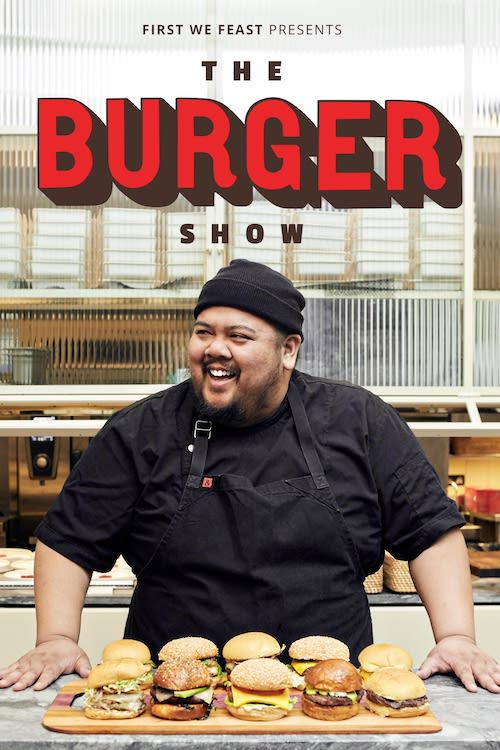The Burger Show Poster with Alvin Cailin in front of a stack of burgers