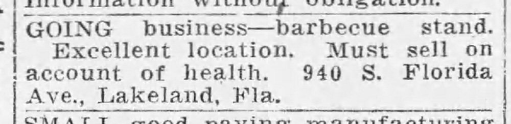 Classified from the Tampa Times September 03, 1934