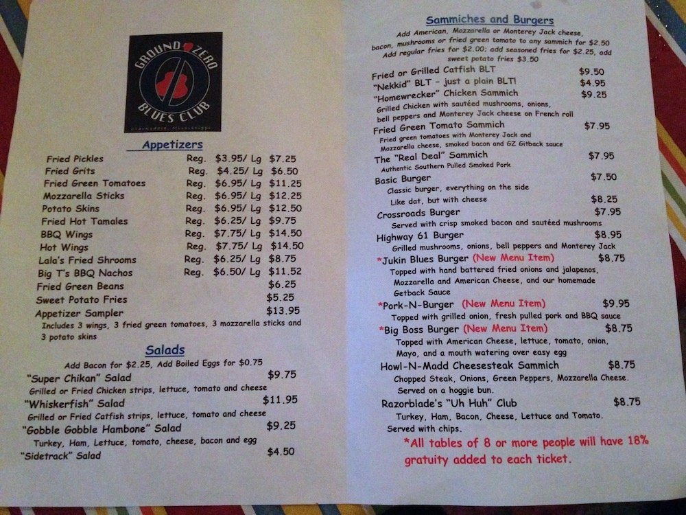 Ground Zero Blues Club Menu
