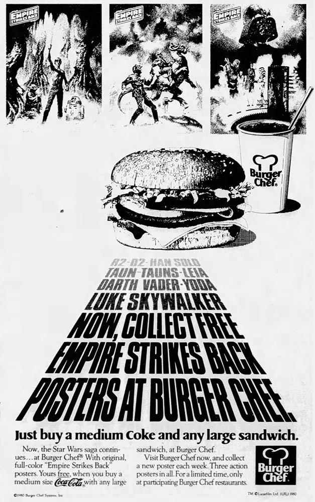 Burger Chef 1980 Empire Strikes Back Posters Ad