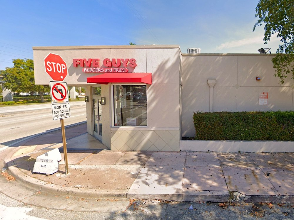 Five Guys Burgers and Fries in Coral Gables, a former Royal Castle building
