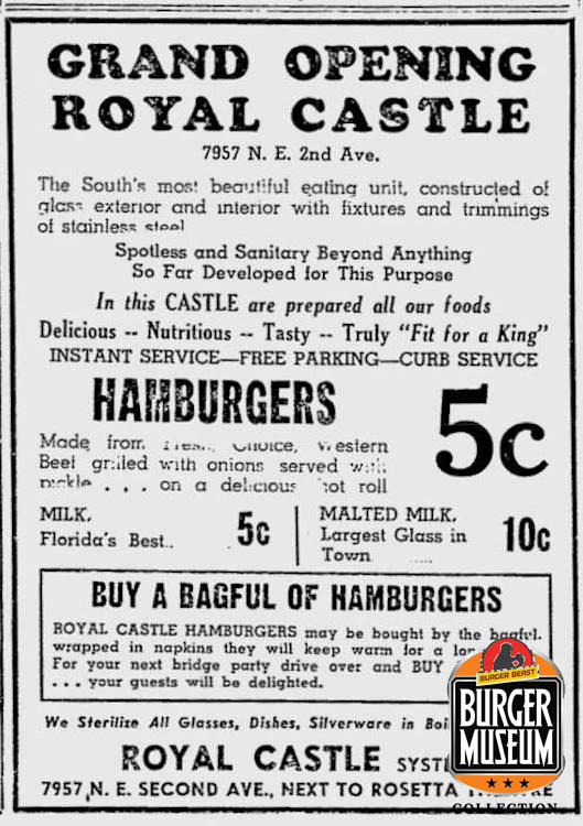 Grand Opening ad for Royal Castle from The Miami Herald on March 18, 1938