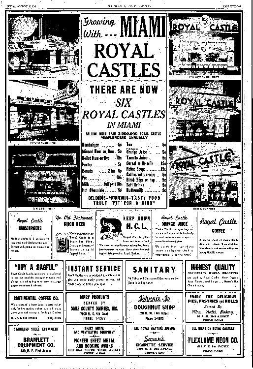 Royal Castle ad in the Miami Herald 11-16-41
