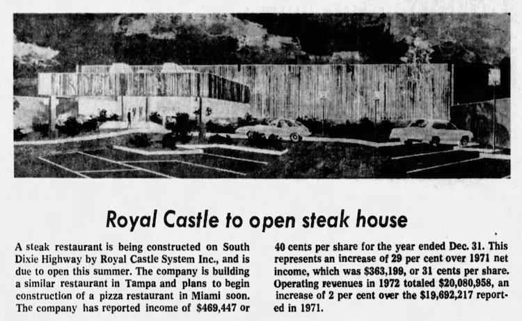 Criterion Steakhouse in the Miami News 3-20-73