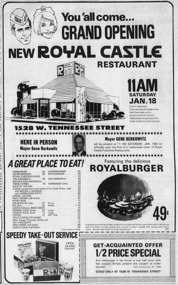 Grand Opening ad in the Tallahassee Democrat January 17, 1969