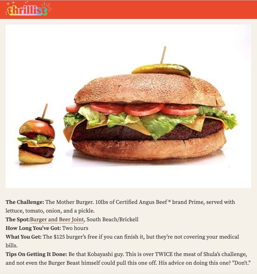 Random Thrillist mention of Burger Beast