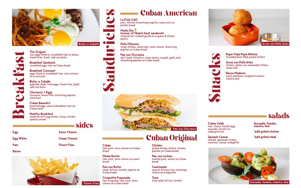 CAO Bakery Food Menu
