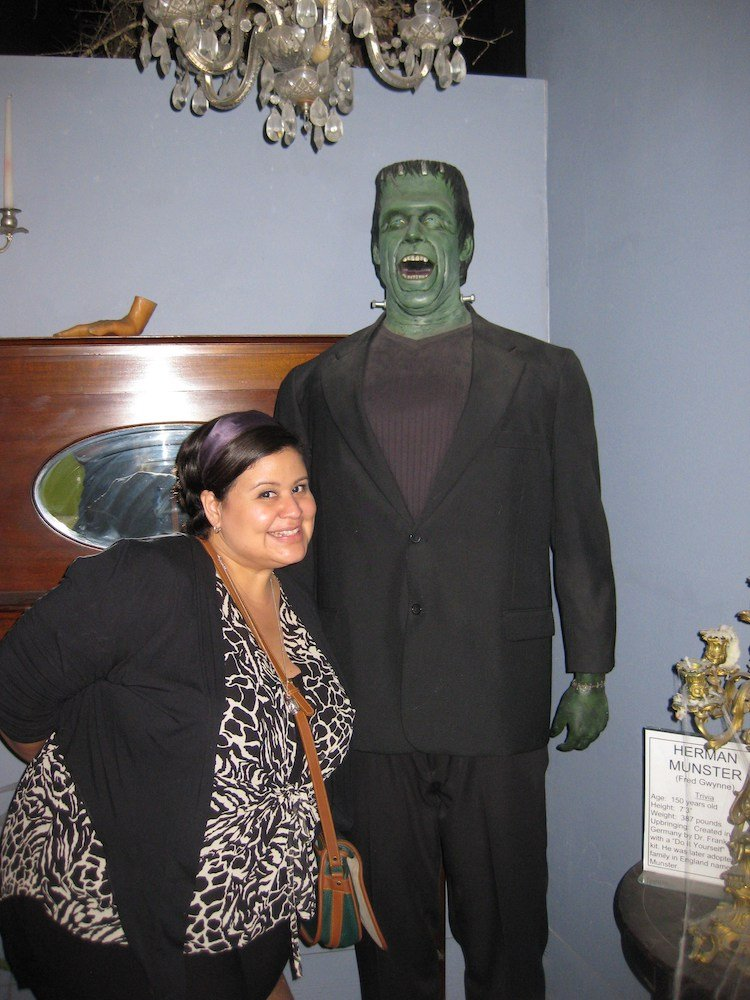 Marcela with Herman Munster at Potter's Wax Museum