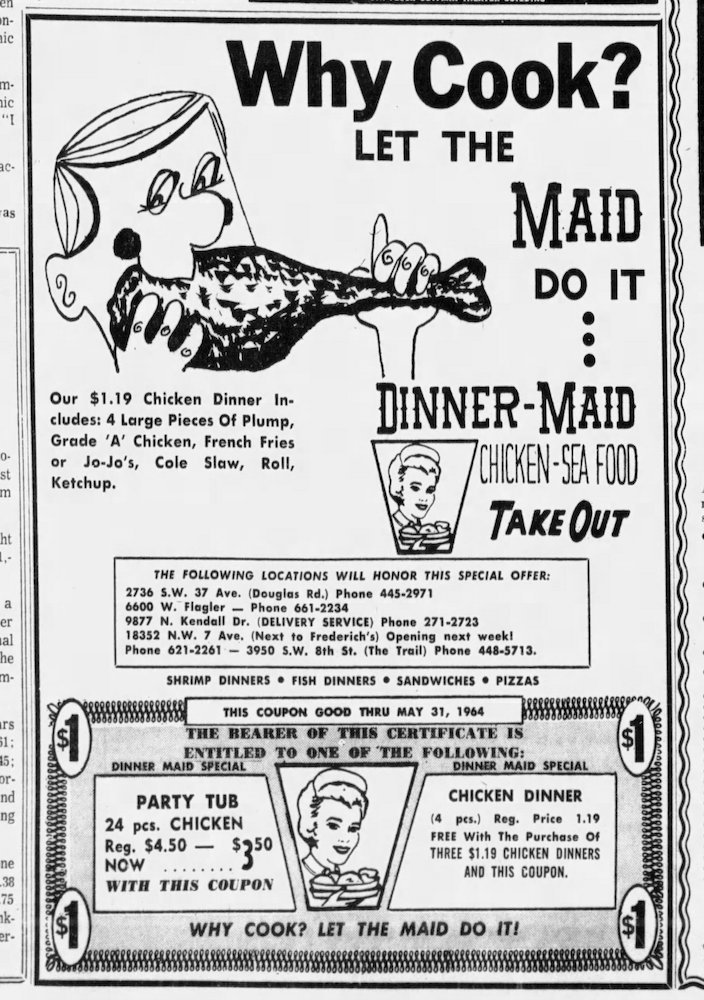 Dinner Maid ad in the Miami News April 12, 1964