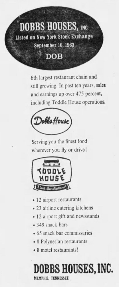 Dobbs Houses ad - September 16th, 1963