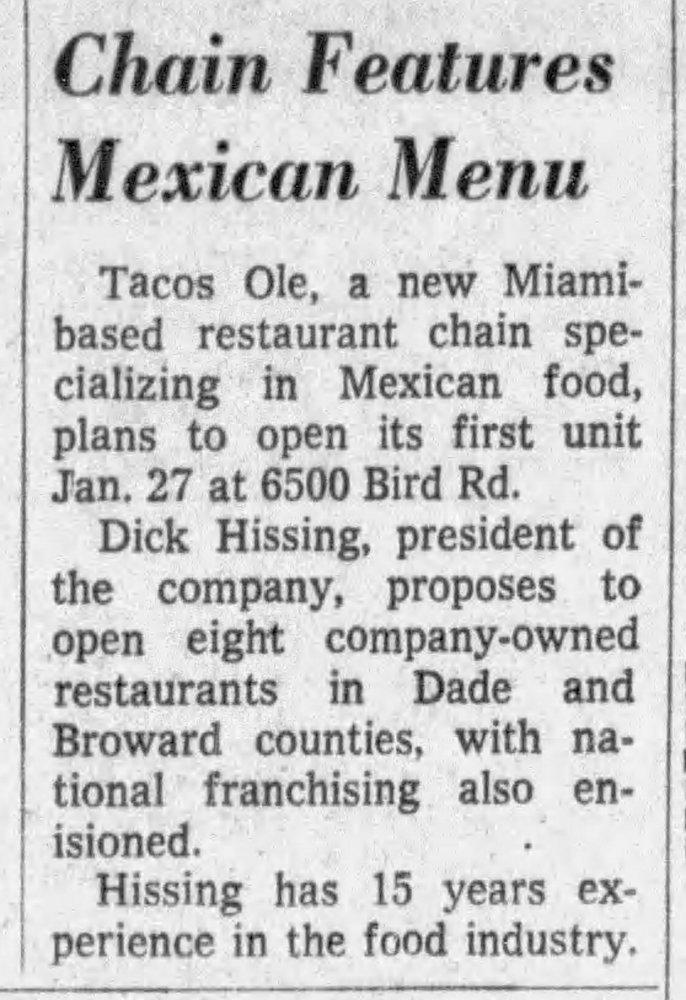 Tacos Olé - Miami Herald 1-11-69