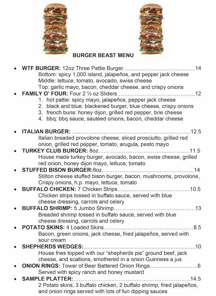 Burger Beast Menu at John Martin's Irish Pub