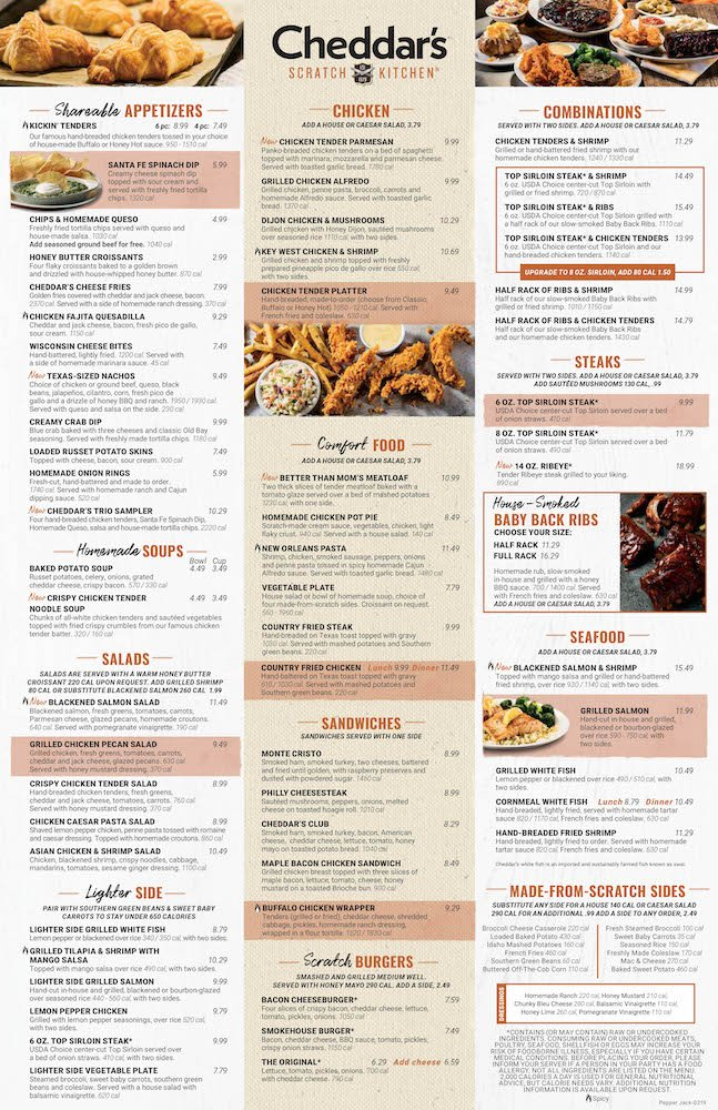 Cheddar's Scratch Kitchen Menu Page 1