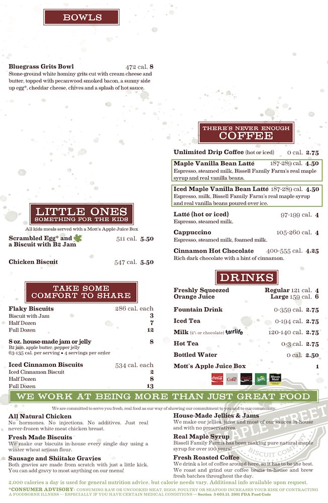 Maple Street Biscuit Company Menu Page 2