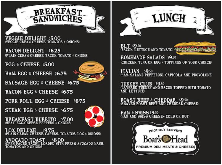 Empire Bagel Factory Breakfast & Lunch Menu