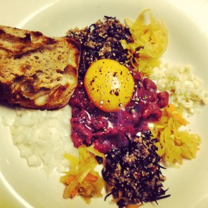 Velvet steak tartare with duck egg, onion, kimchee, hijiki, quinoa and garlic