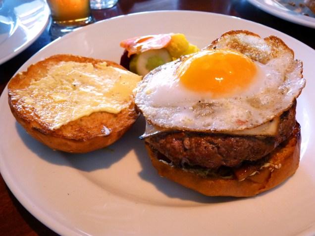 Palena Fried Duck Egg Cheeseburger.