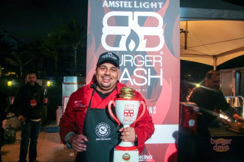 Pincho Factory's Nedal Ahmad poses with that beautiful trophy.