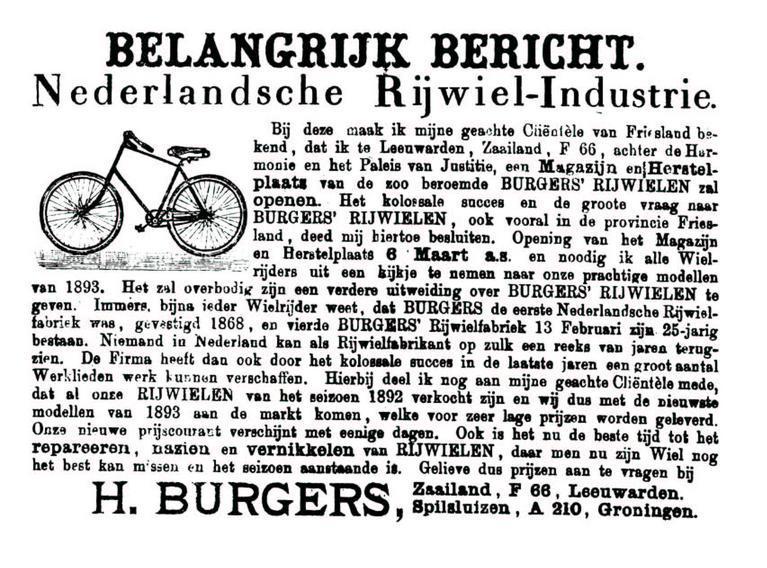 Advertentie Burgers. Leeuwarder Courant 01-01-1893