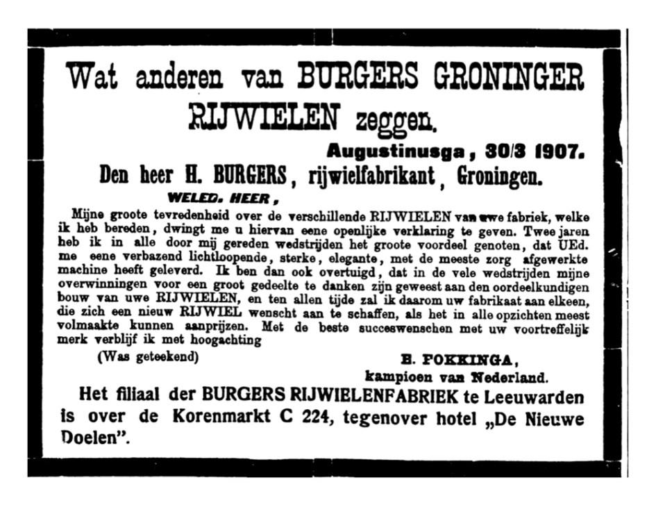 Burgers advertentie. adv. adhesie gron. LC 27-6-1907