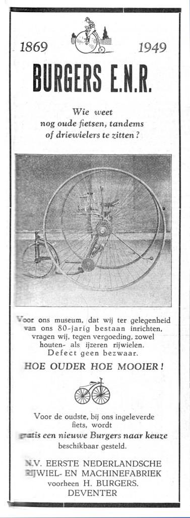 """advertentie in """"de Nederlandse Rijwielhandel"""" uit 1949"""