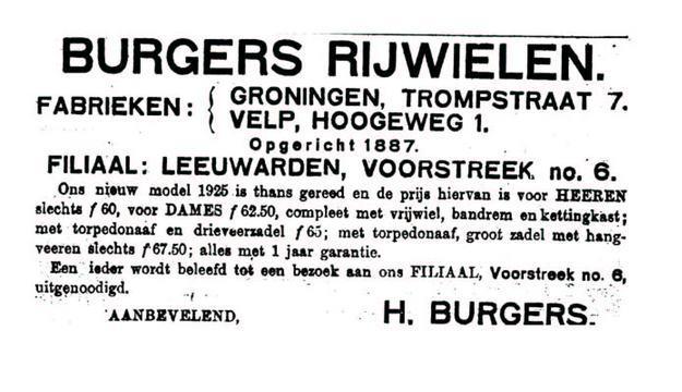Advertentie Burgers. leeuw cour. 07-05-1925