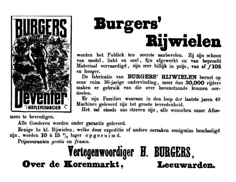 Advertentie Burgers. Leeuwarder Courant 24-08-1898