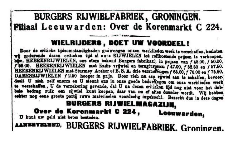 Advertentie Burgers. leeuw cour. 27-01-1915