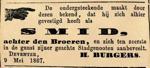 Advertentie Deventer courant 10 mei 1867.