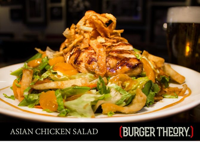 Burger Theory Phoenix - ASIAN CHICKEN SALAD - Mixed greens • Napa cabbage • red bell peppers • carrots • snow peas wonton strips • Mandarin oranges • sesame ginger dressing