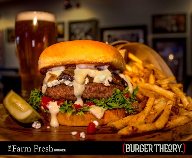 Burger Theory Phoenix: FARM FRESH BURGER: Signature blend patty • portobello mushroom • grilled onions • roasted red peppers • lettuce • goat cheese • roasted garlic mayo Option: Single Patty or Double