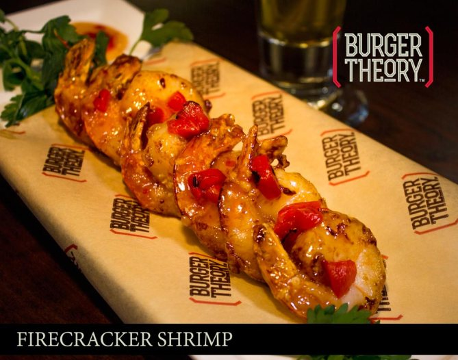 Burger Theory Phoenix: FIRECRACKER SHRIMP- Lightly fried jumbo shrimp • sweet red chili sauce • don't miss!