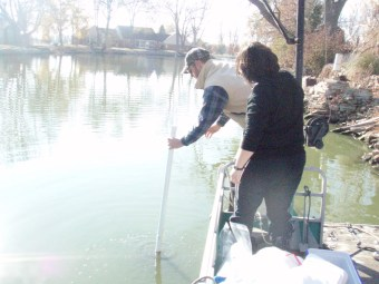 Matt Konkler and Geraldine Nogaro collecting sediment cores from Grand Lake St. Mary's (OH).