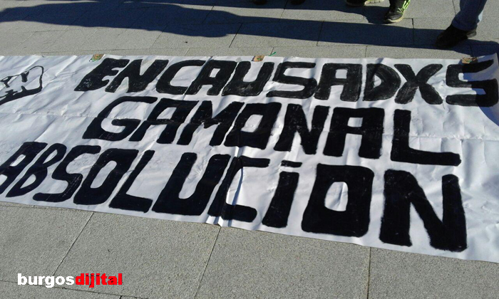 Pancarta en favor de los encausadxs de Gamonal