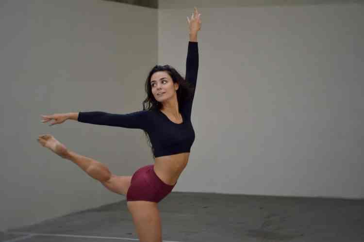 flexible ballerina training in studio