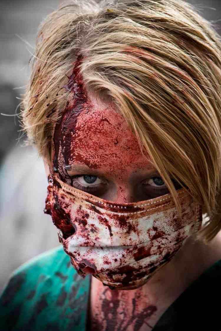 woman mask blood halloween