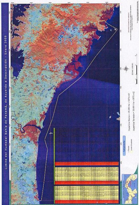 Mapa del Refugio de Vida Silvestre Bahia de Panamá que inicia en Costa del Este hasta Chimán. Protege humedales de agua dulce, manglares y el sistema costero que sostiene millones de aves playeras migratorias y nativas