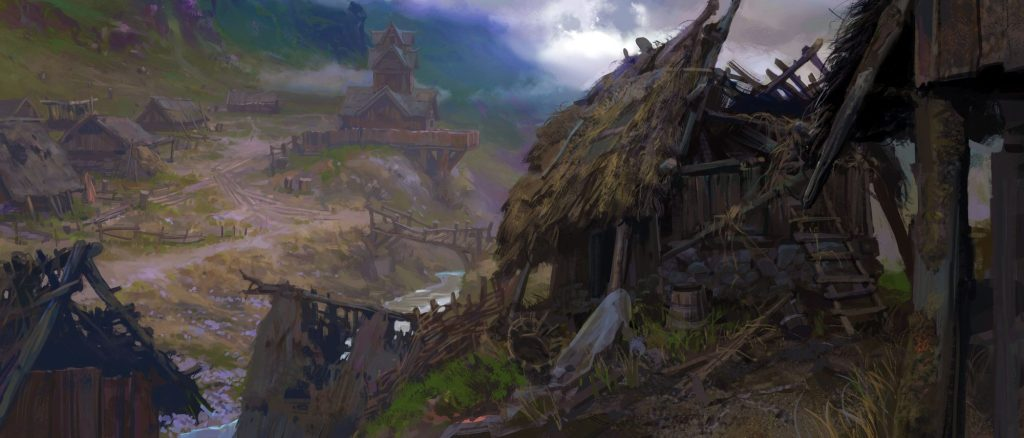 A ramshackle village, with a crumbling shed in the foreground and misty mountains in the background.