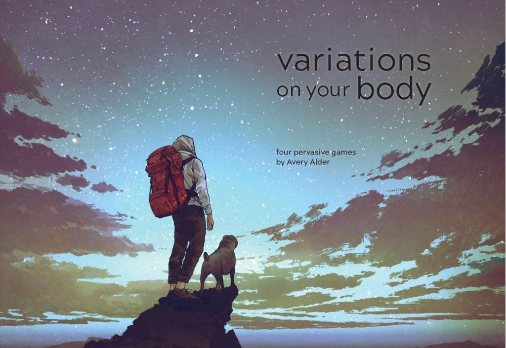 A young person with a large backpack stands next to a pug, and both stare up at the starry sky.