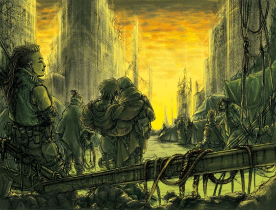A group of queer people huddle together in the rubble of a ruined city watching a strange sunrise.