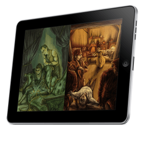 A mockup of a tablet displaying an image from each of two games: Dream Askew and Dream Apart.